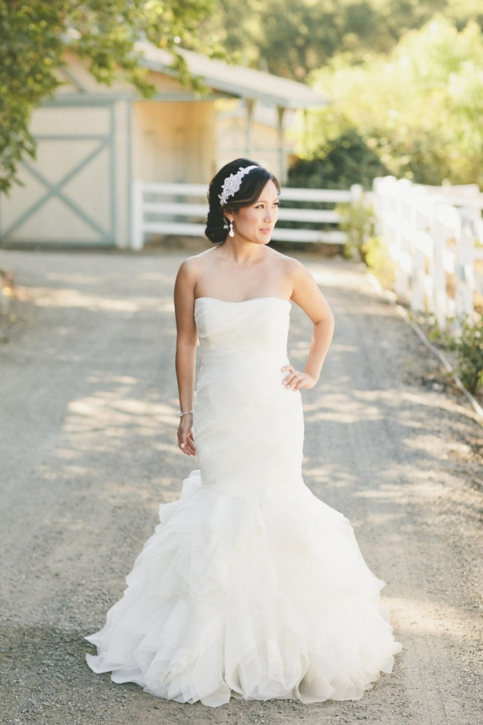 Real wedding beautiful bride wearing ruffled mermaid for Mermaid wedding dress with ruffles