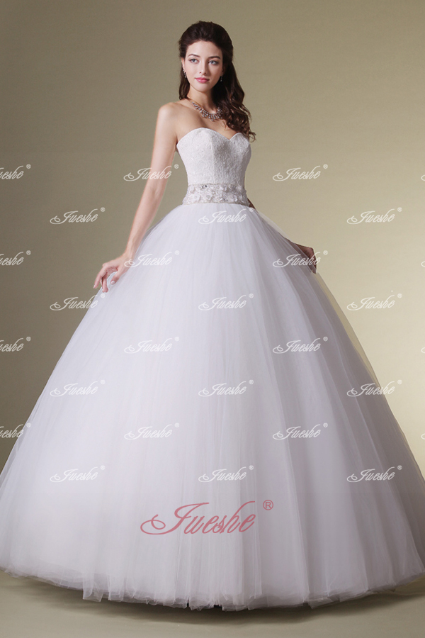 Simple Tulle Strapless Floor Length Ball Gown Wedding Dress JSWD0216 2