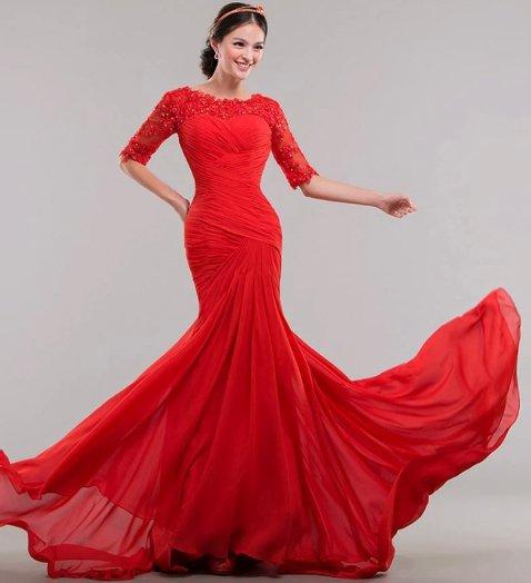 Red wedding dress pretty chic lady world