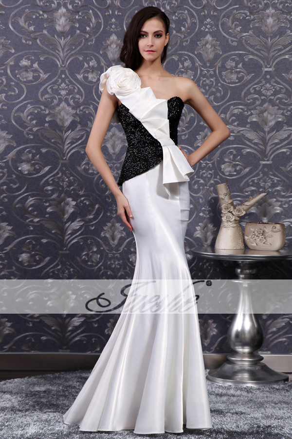 4b241979261e3 2014 Black-white Peplum One Shoulder Evening Gown ...